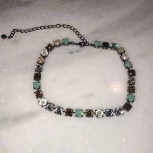 Brown and blue crystal necklace